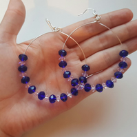 Royal blue and pink hoop earrings
