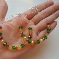 reggae beaded glass hoop earrings
