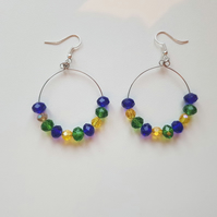 glass beaded hoop earrings blue yellow green
