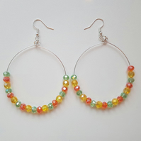 colourful glass beaded hoop earrings