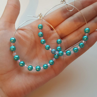 teal and pink glass pearl beaded earrings