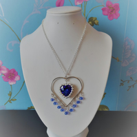 Royal blue heart pendant necklace
