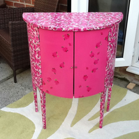 Stunning 1960's Pink Floral Decopatched Ladies Bedtoom Boudoir Cabinet