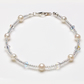 White Glass Pearl and Swarovski Bicone Crystal Bracelet