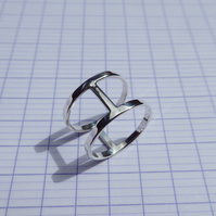 Sterling Silver Geometric Minimal Cage Double Band Ring
