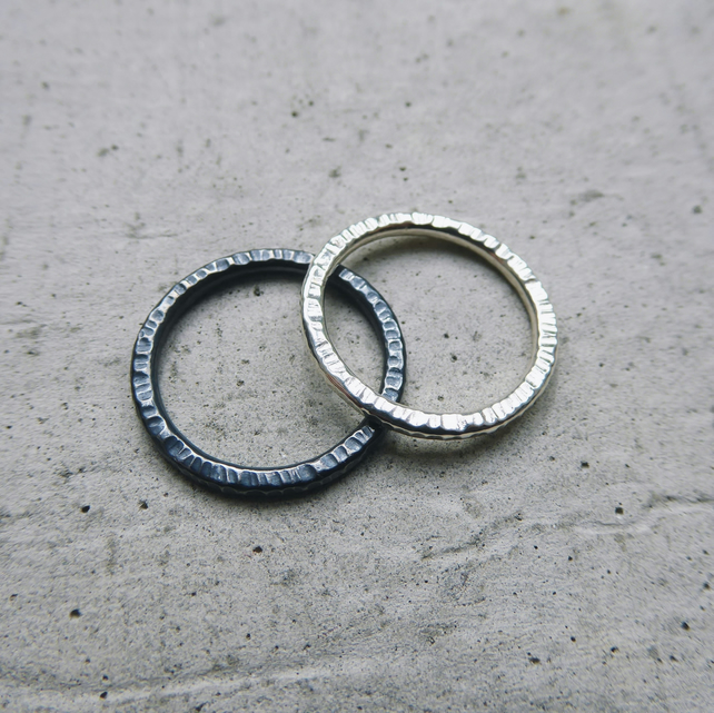Textured Silver Stacking Ring Set