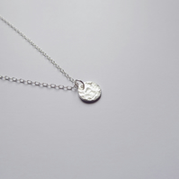 Sterling Silver Tiny Moon Circle Textured Necklace
