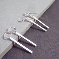 Long Bar Recycled Sterling Silver Hoop or Hook Line Earrings