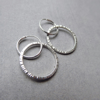 Sterling Silver Textured Ridge Circle Hoop Earrings