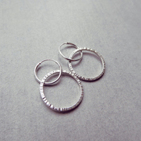 Sterling Silver Textured Ridge Circle Hoop Earrings - Mother's Day Jewellery