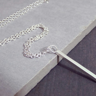 Sterling Silver Long Bar Chain Line Drop Necklace