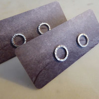 Sterling Silver Textured Handmade Circle Ridge Stud Earrings