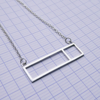 Sterling Silver Rectangle and Square Geometric Minimal Necklace