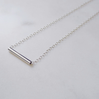 Minimal Sterling Silver Tube Bar Chain Necklace