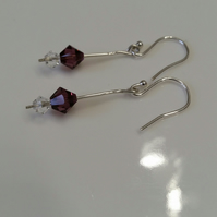 Earrings, Sterling Silver Swarovski –E013