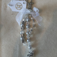 Unisex baby bag charm, white glass beads and silver cherub