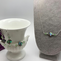 Natural Abalone Shell & Swarovski Crystal Jewellery Set FREE POSTAGE