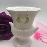 Lime Green Mother of Pearl Earrings Sterling Silver