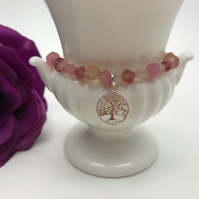 Pink Indian Glass & Tree of Life Bracelet Christmas Gift