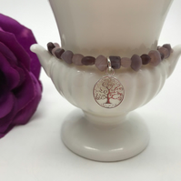 Purple Tones Indian Glass & Tree of Life Bracelet Christmas Gift