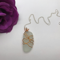 Unique Wire Wrapped Sea Glass Pendant FREE POSTAGE
