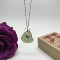 Sea Glass & Sterling Sterling Silver Hummingbird  Valent Day Gift FREE POSTAGE