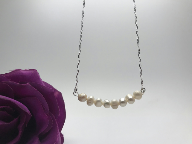 Freshwater Pearl Bar Necklace Valentine's Gift Mother's Day  FREE POSTAGE