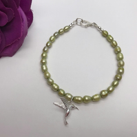 Lime Green Freshwater Pearl & Humming Bird Bracelet Valentine's Day Gift