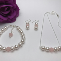 Swarovski Pearl & Crystal Bridal Jewellery Set Wedding Jewellery Bride to Be