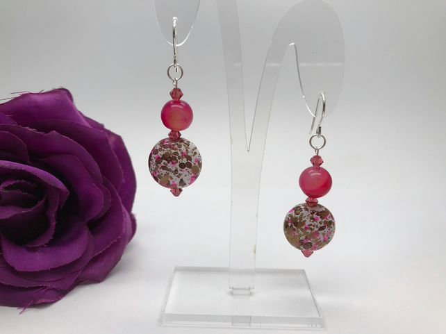 Agate & Swarovski Crystal Earrings