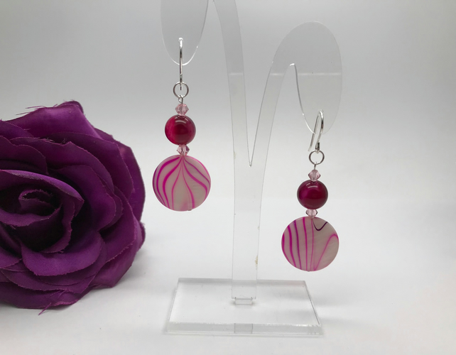Mother of Pearl & Agate Earrings