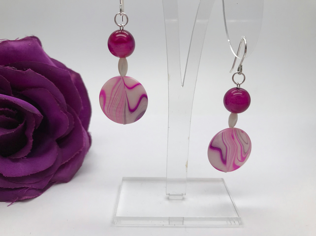 Pink Agate & Mother of Pearl Earrings