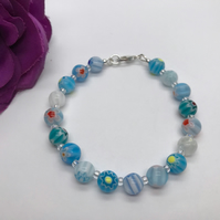 Blue Themed Millefiori Glass Bead Bracelet Birthday Summer Jewellery