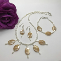 Mother of Pearl Jewellery Set Mother of The Bride Wedding Jewellery