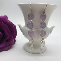 Amethyst & Sterling Silver Angel Wing Earrings