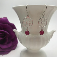 Sterling Silver Swirl Charm Earrings with Swarovski Crystal