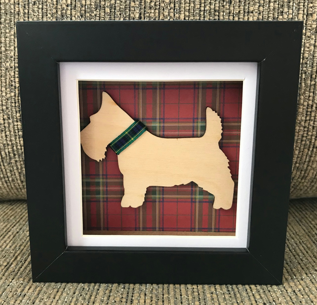 Scottie Dog Box Art Frame Scottish Gift Scotland