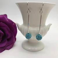 Sparkly Blue Pave Earrings Wedding Special Occasion