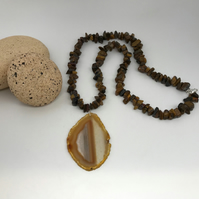 Tiger's Eye & Agate Necklace