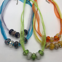 Summer Necklaces Ribbon & Pandora Style Beads