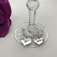 Mr & Mrs Wine Glass Charms Swarovski Pearls & Swarovski Crystals