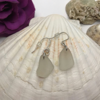 Frosted White Scottish Sea Glass Earrings
