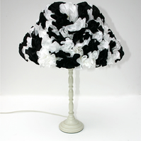 Black and white lampshade, ruffle lampshade, lampshade, table lamp, side lamp