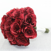 Beautiful Red Roses Bridal Bouquet - Wedding Flowers - Artificial Faux