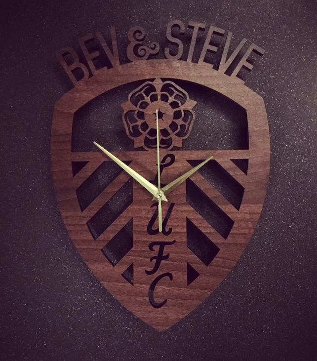 Personalised Leeds United Crest Badge Clock
