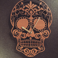 Walnut Veneered Sugar Skull Wall Clock