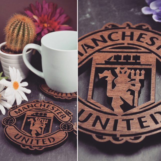 Pack of 4 Manchester United Badge Coasters