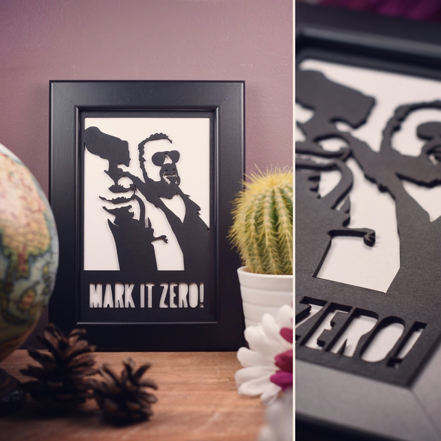 The Big Lebowski Walter Sobchak - Mark it Zero Framed Artwork - 13cm x 18cm