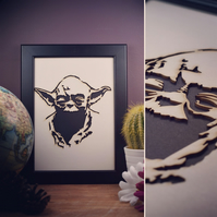 Star Wars Yoda Framed Artwork - 13cm x 18cm