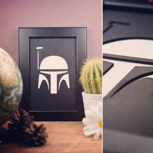Star Wars Boba Fett Framed Artwork - 10cm x 15cm